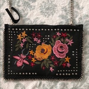 TOPSHOP Embroidered Clutch with Chain